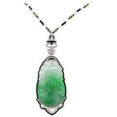 Art Deco Jade and Diamond Necklace
