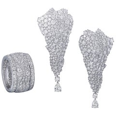 White Diamond, White Gold Earrings and Band Ring Suite