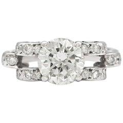 1.67 Carat Round Diamond Ring Set in Platinum
