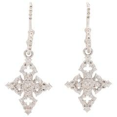 Armenta New World Cross Drop Earrings, Sterling Silver and Diamonds, Style 02899