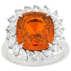 Orange Sapphire and Diamond Ring, 8.08 Carat