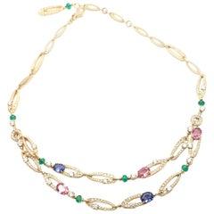 Bulgari Elysia Diamond Multi-Color Sapphire Emerald Yellow Gold Necklace