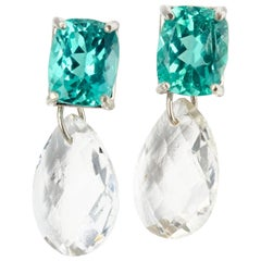 Apatite and White Topaz Sterling Silver Stud Earrings