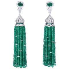 Emerald and Diamond Tassel Earrings