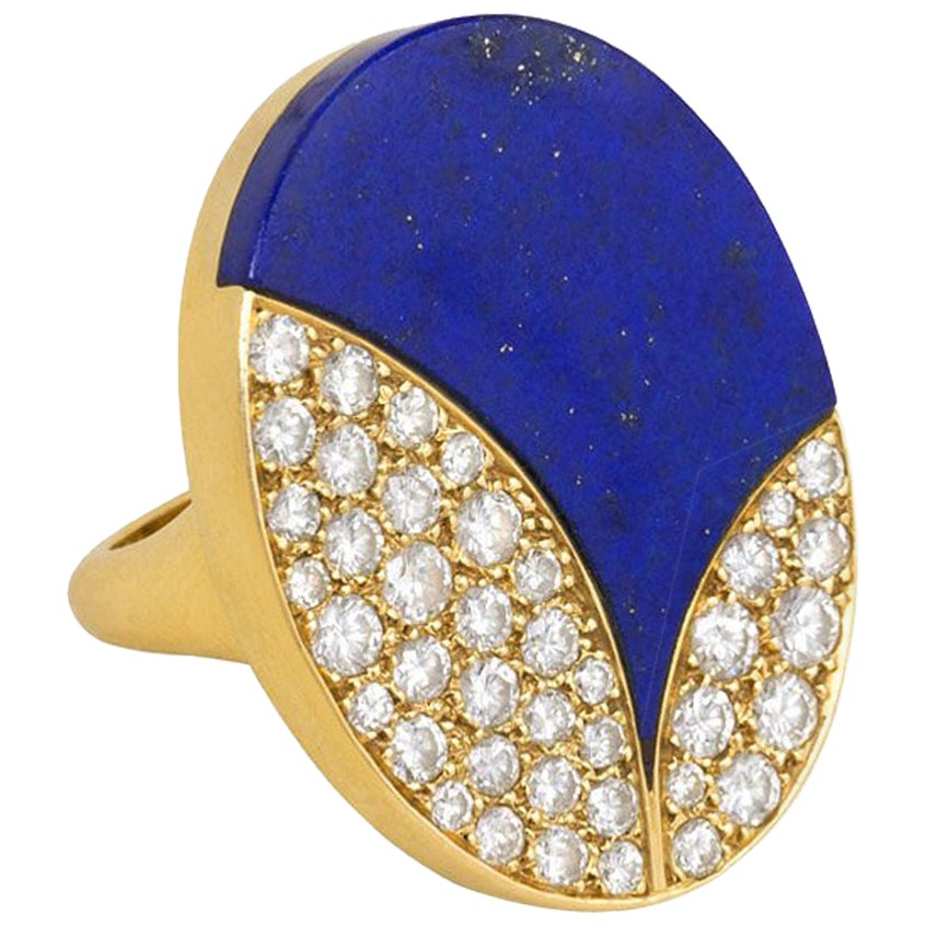 Bulgari 1970s Modernist Lapis, Diamond, and Gold Ring of Abstract Design