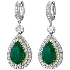 Emerald Diamond White and Yellow Gold Drop Earrings