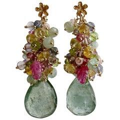 Moss Aquamarine, Pink Topaz/Zircon, Amethyst, Peridot, Iolite Cluster Earrings