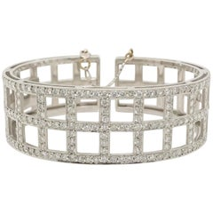 Vintage 3.42 Carat Diamond Cuff Bracelet, 18 Karat White Gold with Milgrain