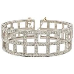 Vintage 3.42 Carat Diamond Cuff Bracelet, 18 Karat White Gold with Milgrain