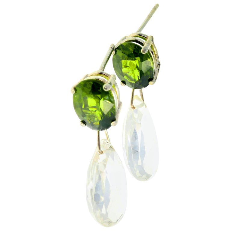 5 Carat Green Zircon and White Topaz Sterling Silver Dangle Stud Earrings