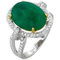 Emerald Diamond White and Yellow Gold Ring