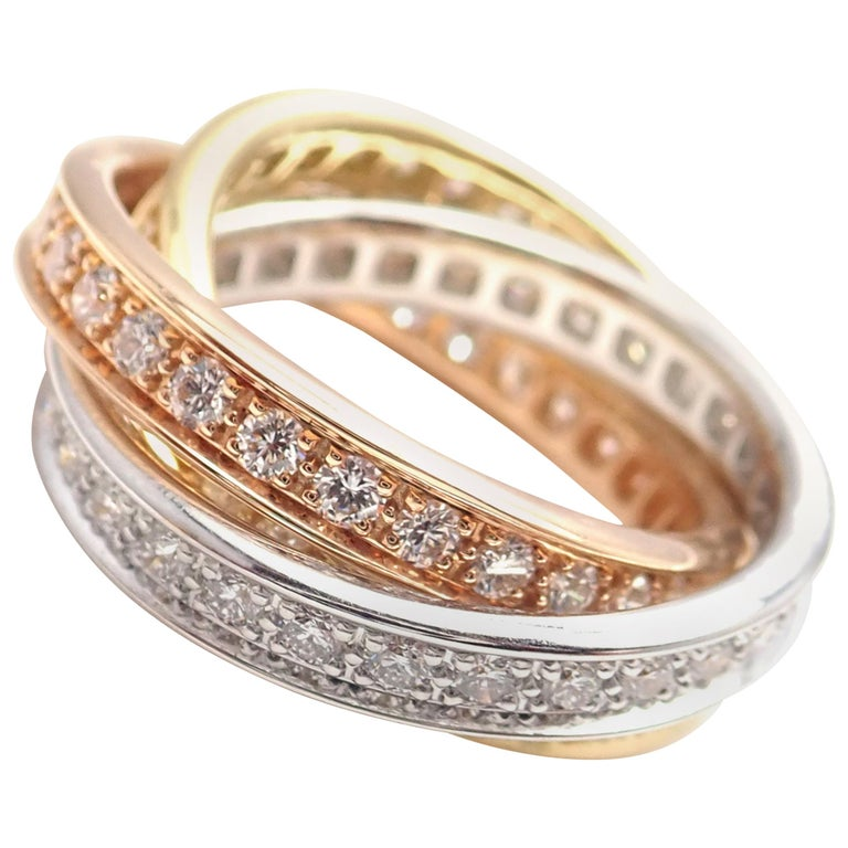 Cartier Trinity Diamond Tri-Color Gold Band Ring