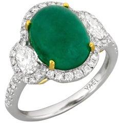 Emerald Diamond White and Yellow Gold Three-Stone Ring