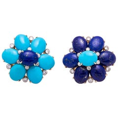 18 Karat Yellow Gold Turquoise, Lapis and Diamond Ear Clips