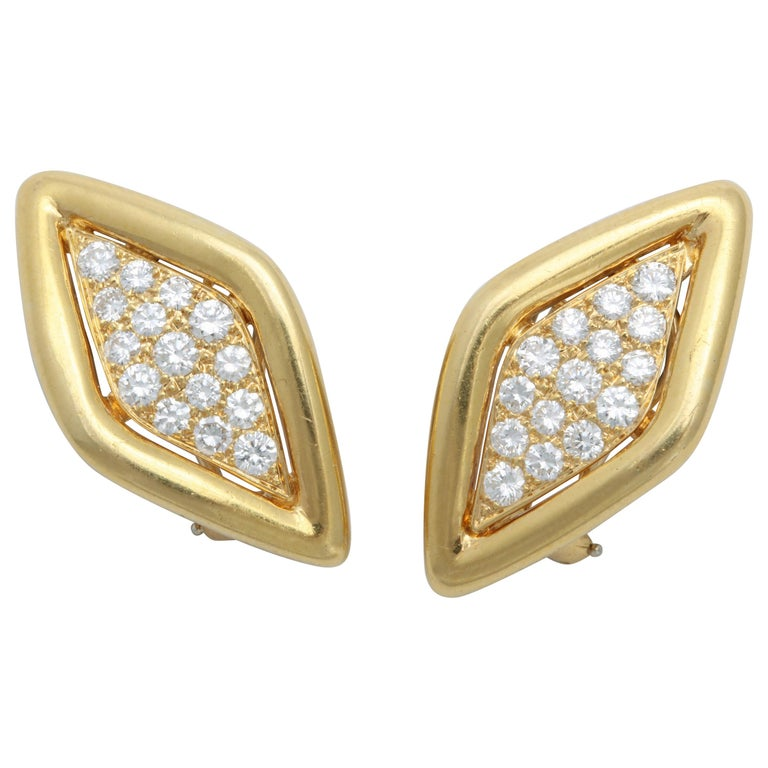 Van Cleef & Arpels Lozenge Shaped Clip-On Diamond Earrings