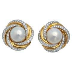 Mikimoto-NY Mabe Pearl and Diamond Clip-On Earrings