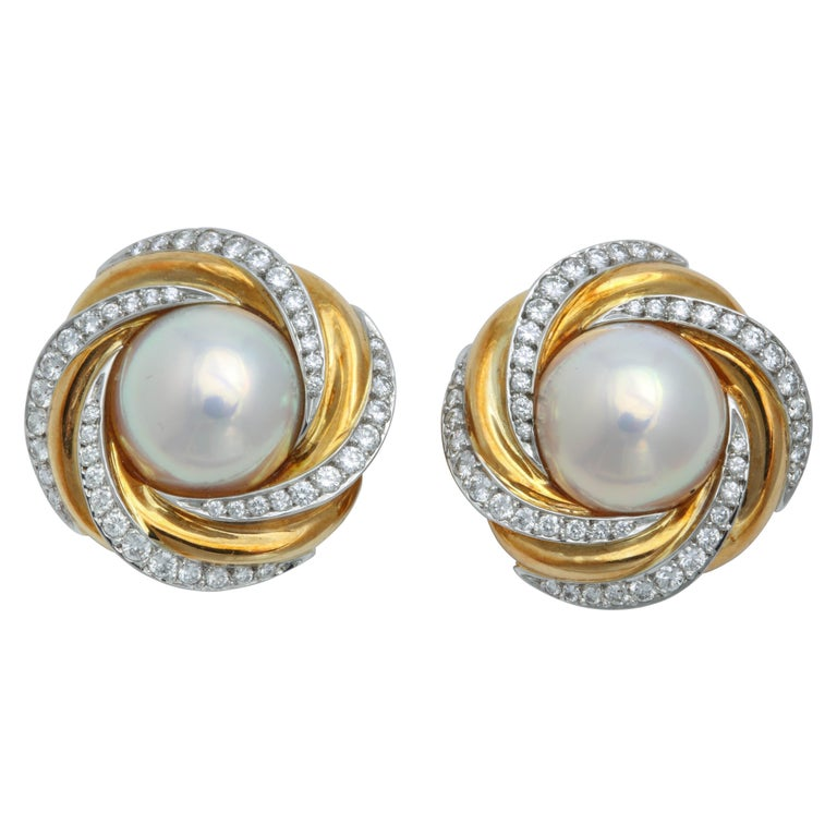Mikimoto Ny Mabe Pearl And Diamond Clip On Earrings For