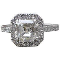 2.43 Carats of Diamond - 18 Karat White Gold Asscher Cut Diamond Engagement Ring