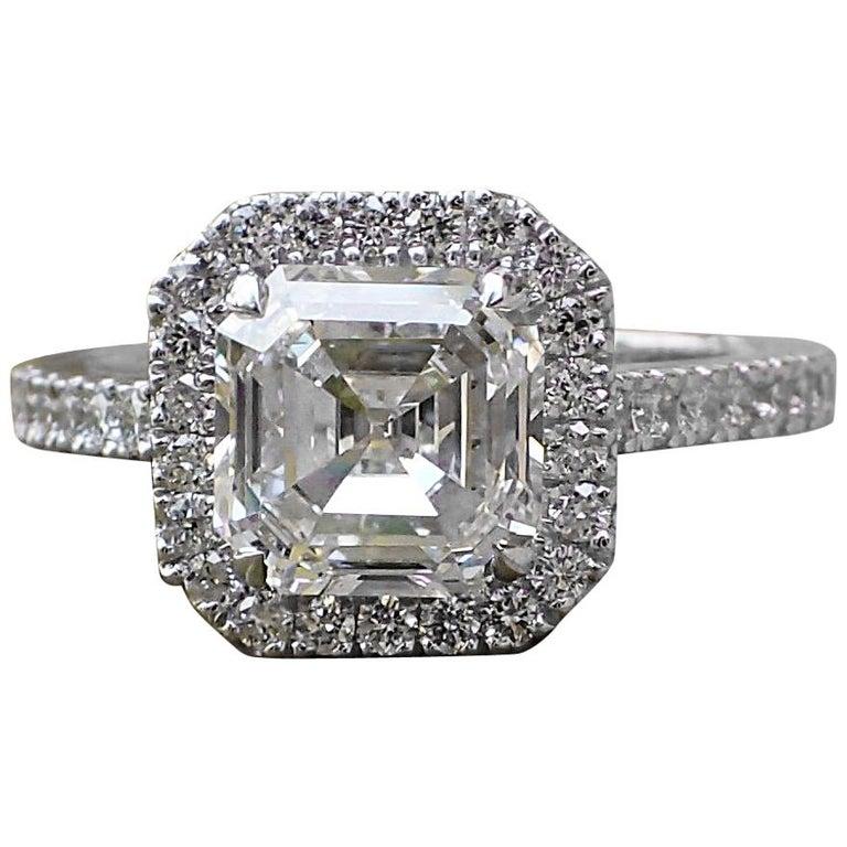 2.43 Carats of Diamond - 18 Karat White Gold Asscher Cut Diamond Engagement Ring