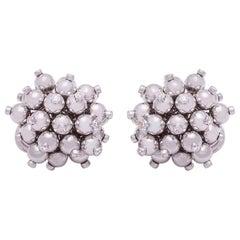 18 Karat White Gold Bead and Diamond Ear Clips
