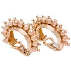 18 Karat Yellow Gold Bead and Diamond Hoop Earclips