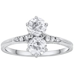 Double Old European Cut Diamond Antique Engagement Ring