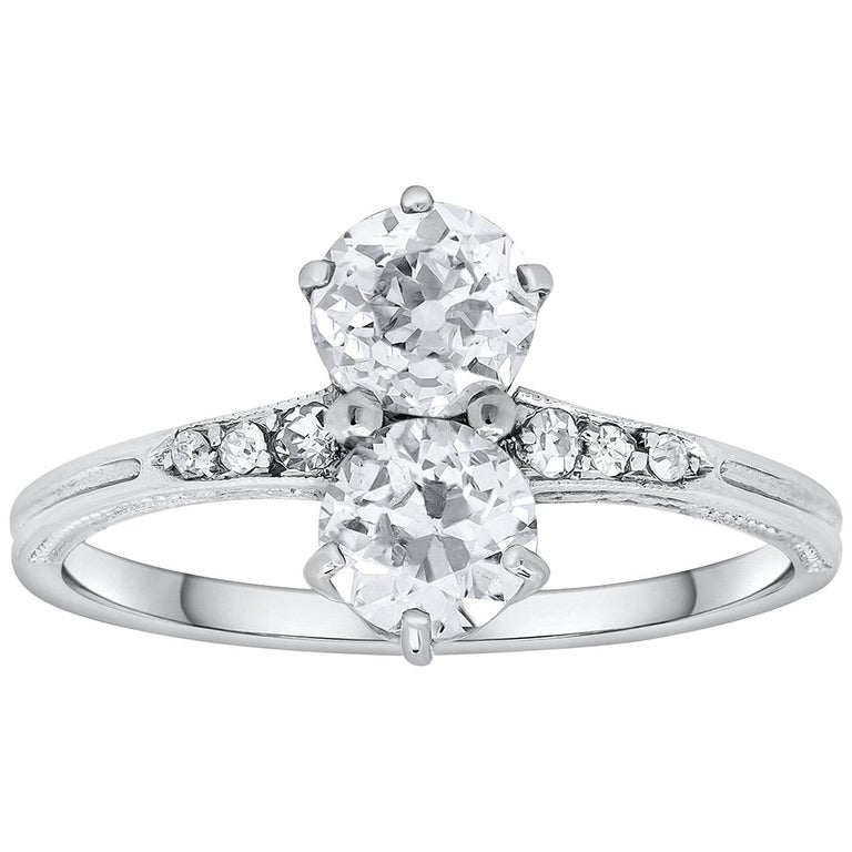 Double Old European Cut Diamond Antique Engagement Ring