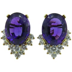 Pair of Amethyst and Diamond Earrings