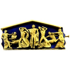 Magnificent Greek Enamel Male Figures Temple of Zeus at Olympia Gold Pin Brooch
