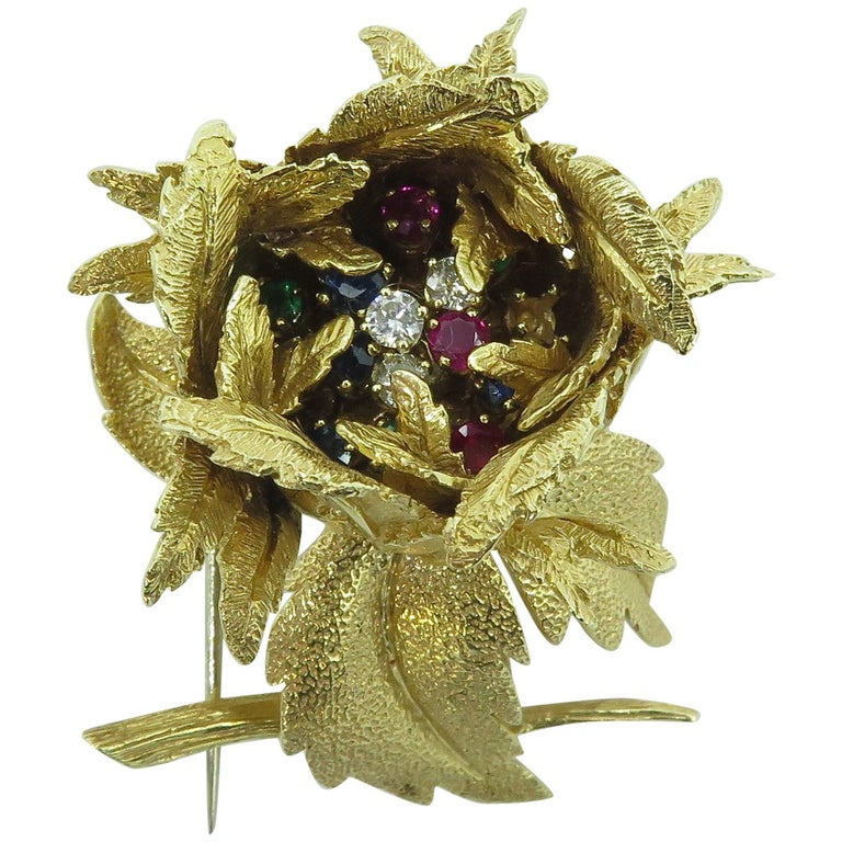Gold and Gem Set Flower Brooch