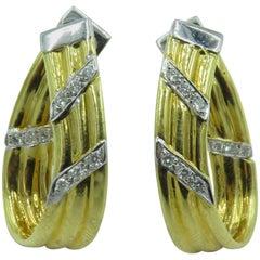 Pair of Gold and Diamond Hoop Earrings