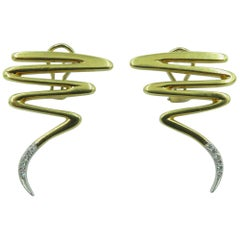 Paloma Picasso, Tiffany & Co. Gold and Diamond Earrings