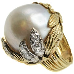 1960s Impressive Diamond 18 Karat Gold Mabe Pearl Ring