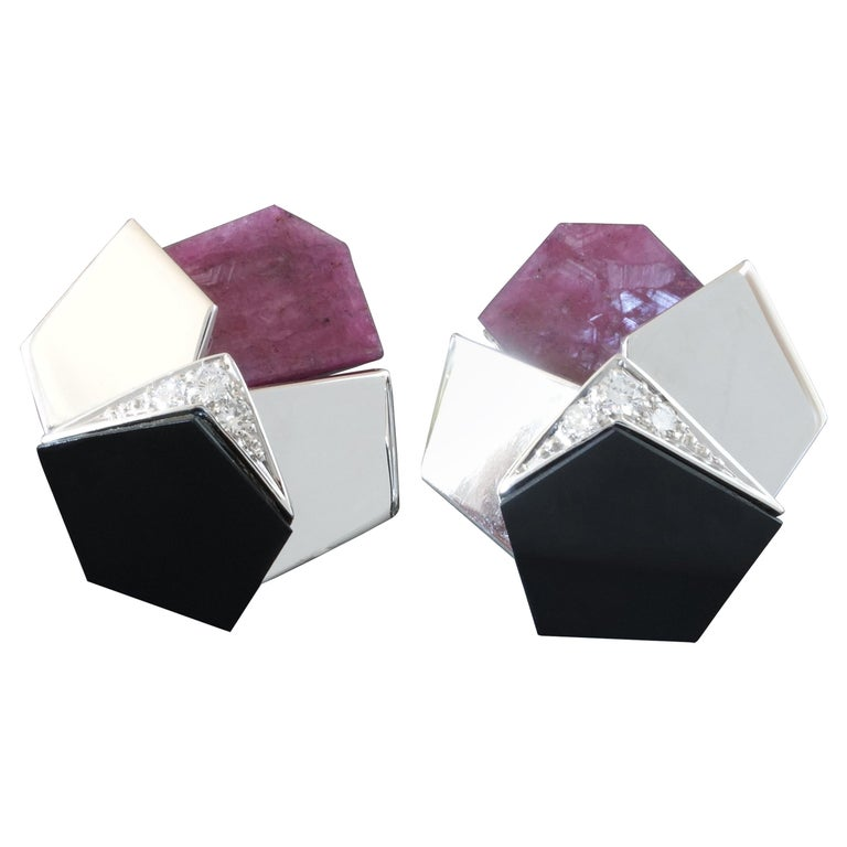1960s Th. Herbstrith Midcentury Modernist Diamond Ruby Onyx White Gold Earrings