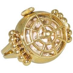 Ebel yellow Gold Retro Ring Watch, circa 1948