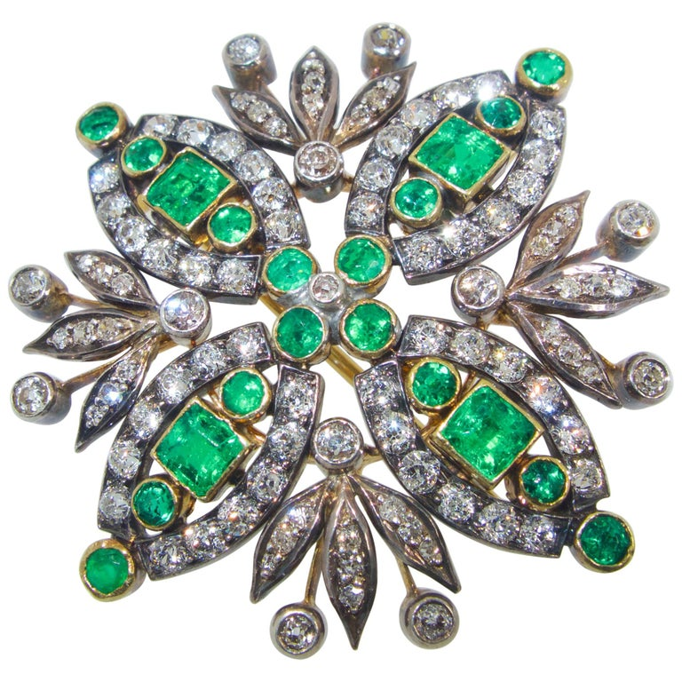 Antique Diamond and Emerald Brooch/Pendant