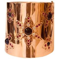 14 Karat Rose Gold Retro Period Cuff Bracelet