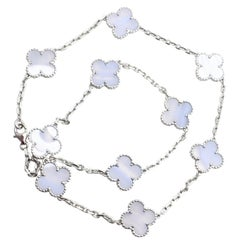 Van Cleef & Arpels Ten Motifs Chalcedony Alhambra White Gold Necklace