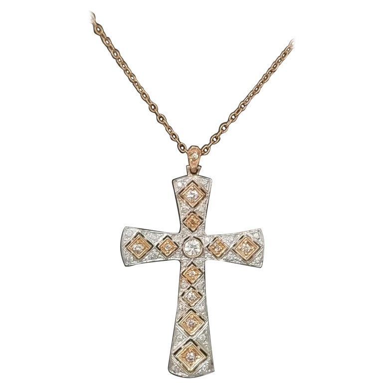 14 Karat Rose Gold and Diamond Cross