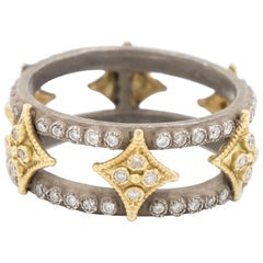Armenta Old World Double Diamond Ring 18 Karat Gold and Silver, Style 03477