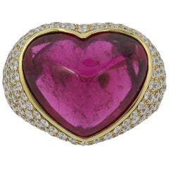 18 Karat Yellow Gold Heart Shaped Sugarloaf Tourmaline and Diamond Ring