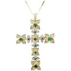 14 Karat Yellow Gold Emerald and Diamond Cross