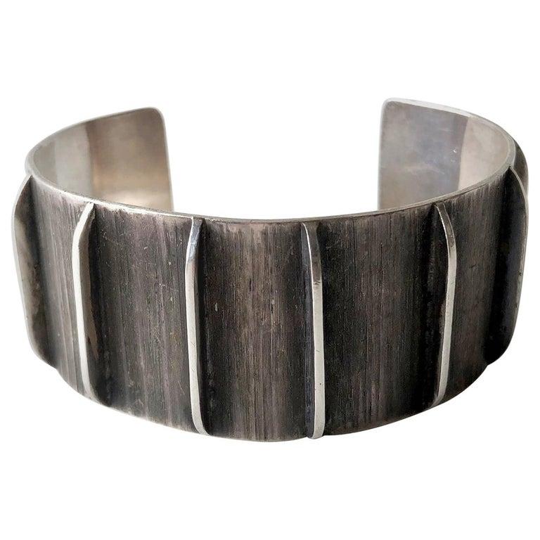 Jean Lasnier Oxidized Sterling Silver San Francisco Modernist Cuff Bracelet