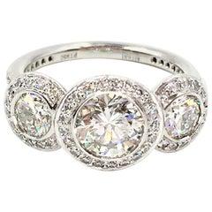 GIA Certified 1.03 Carat Round Brilliant Diamond Three-Stone Ritani Ring