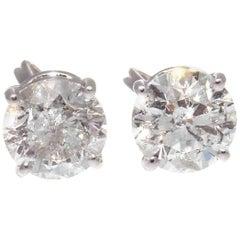 1.38 Carat 1.34 Carat Diamond Platinum Stud Earrings