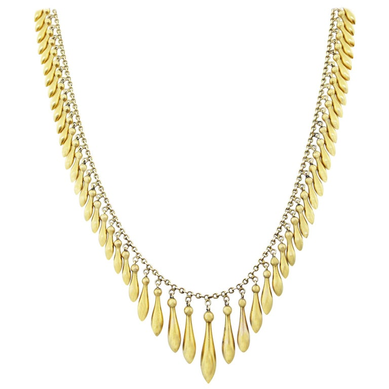 Victorian 14 Karat Egyptian Revival  Fringe Necklace