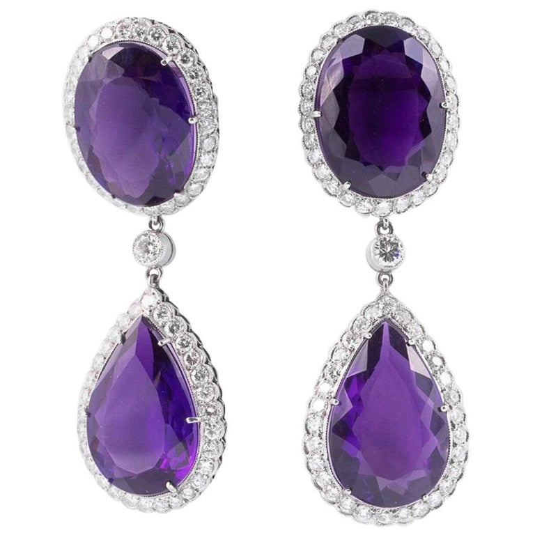 Art Deco Amethyst and Diamond Earrings For Sale