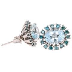 4.19 Carat Aquamarine and Blue Diamond White Gold Stud Earrings
