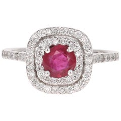 1.41 Carat Ruby Diamond White Gold 14 Karat Ring