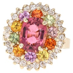 4.53 Carat Pink Tourmaline Sapphire Diamond 14 Karat Yellow Gold Cocktail Ring